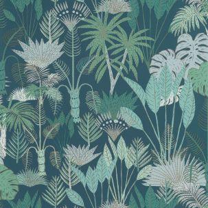 Papier peint Philippines Bleu Nuit Vert Doré